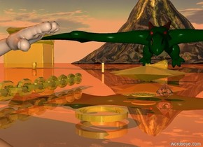 a gold tube.the tube is 0.5 inches tall.a dragon is 10 feet behind the tube.a gold chest is left of the dragon.a gold flask is in front of the dragon.the flask is face up.the flask is facing south west.a gold volcano is 80 feet behind the chest.a boy is 6 inches left of the tube.the boy is facing the tube.the boy is 6 inches in the ground.a gold pebble is 1 feet in front of the flask.a gold candlestick is 2 feet left of the pebble.a gold cup is 3 feet in front of the chest.the cup is 1 feet right of the chest.a  first gold coin is 1 feet behind the tube.a gold chain is 1 feet left of the first coin.a second gold coin is right of the first gold coin.a large diamond is right of the second coin.the diamond is upside down.the first coin is face up.the second coin is face up.a gold star symbol is 2 feet behind the first coin.the star symbol is face up.the ground is shiny old gold.the sun is old gold.