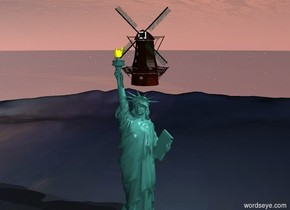 Statue of Liberty on ground. mill in Statue of Liberty. it is morning. 1st white light 40 feet above ground. ground is water