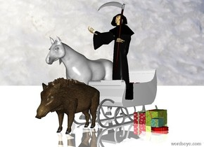 a sleigh.a pig is -18 inches in front of the sleigh.death is -20 inches above the sleigh.death is -5 feet in front of the sleigh.a first present is behind death.a gift box present is behind the first present.a second present is above the gift box.a third present is right of the sleigh.a fourth present is 1 inches right of the third present.a white horse is 1 feet left of the sleigh.the ground is reflective.[christmas]sky.the ground is snow.