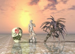 the marble statue is 2 feet to the left of the small clear palm tree. a marble man behind the statue. liquid ground. very huge floral skull 3 feet left of the man
