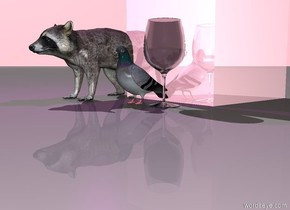 the huge shiny pink cube is behind the big pigeon.  the big raccoon is one foot to the left of the pigeon.  the purple light is two feet above the raccoon.  The sky is pink.  the pigeon is near a huge glass.     the pink banana is in front of the pigeon  another pink banana is near the glass