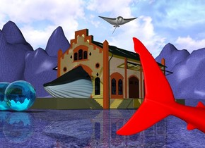 the small whale is -40 feet in front of the gold market. the blue grass ground is tall. the red shark is 20 feet to the right of the market. it is 16 feet in front of the market. it is facing northeast. it is leaning 20 degrees to the front. it is 2 feet in the ground. the large  stingray is 3 feet above the market. it is facing southeast. the three huge clear aqua spheres are 5 feet in front of the market.