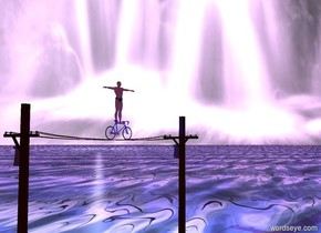A bicycle is -4 feet above a telephone line. It is facing east. The sky is [waterfall]. The ground is [water] texture. The texture is 150 feet wide. A man is -0.5 foot above the bicycle. Camera light is black. A turquoise light is above the man. A blue light is in front of the man. The azimuth of the sun is 40 degrees. The altitude of the sun is 5 degrees. The sun is 50% blue. Ambient light is violet.