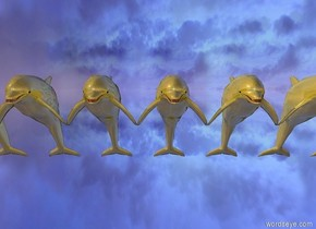 9 giant shiny gold dolphins in the silver sky.