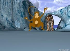 Tiger eats monkey