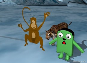 Tiger chases ferret and monkey