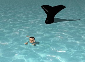 Man on whale in the ocean, nearby a ship -