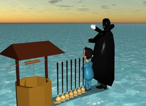 Sorcerer and Child and 7 brooms and a well fly over ocean