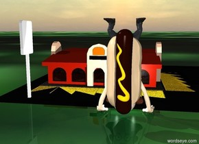 a man.a  huge hotdog is 55 inch in the man..behind the man is a tiny  restaurant.the restaurant is on the ground..the ground is [street].the hotdog is leaning  90 degrees   to right.the hotdog is in front of the man.the hotdog is facing southeast.ambient light is gray.camera light is white.in front of the restaurant are two white lights.the bun of the hotdog is tan.the man is upside down.