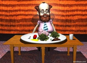 a table.the table is facing right.a huge plate is on the table.a pink brain is on the plate.the brain is upside down.a cup is 3 inches right of the plate.a first tomato is 1 inches left of the brain.a first lettuce is right of the brain.a second lettuce is 2 inches in front of the brain..a second tomato is 1 inches in front of the first tomato.a large radish is 1 inches right of the second lettuce.a bread roll is right of the radish.a tiny yellow puddle is in front of the second tomato.a chair is 6 inches behind the table.a man is on the chair.the man is 4 feet tall.a fork is 3 inches left of the first tomato.the fork is facing north.a 30 feet long wall is 6 inches behind the man.it is night.a white light is 5 feet above the table.the ground is tile.the wall is wood.