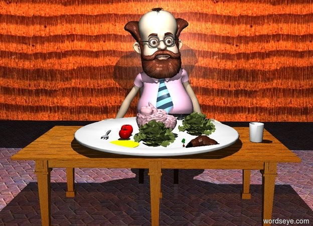 Input text: a table.the table is facing right.a huge plate is on the table.a pink brain is on the plate.the brain is upside down.a cup is 3 inches right of the plate.a first tomato is 1 inches left of the brain.a first lettuce is right of the brain.a second lettuce is 2 inches in front of the brain..a second tomato is 1 inches in front of the first tomato.a large radish is 1 inches right of the second lettuce.a bread roll is right of the radish.a tiny yellow puddle is in front of the second tomato.a chair is 6 inches behind the table.a man is on the chair.the man is 4 feet tall.a fork is 3 inches left of the first tomato.the fork is facing north.a 30 feet long wall is 6 inches behind the man.it is night.a white light is 5 feet above the table.the ground is tile.the wall is wood.