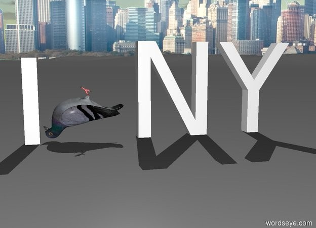 "Input text: the pigeon is upside down. it is leaning back. it is -3 inches above the ground. the white ""I"" is in front of the pigeon. the white ""NY"" is behind the pigeon. it is facing right.it is on the ground. the city background."