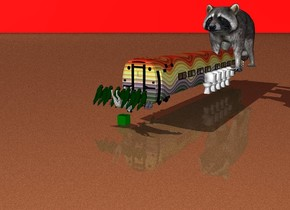 The green cube on the ground.Ground is sand.The dog on the cube.fifty parrots on the dog.the sky is red. the dog is upside down.train behind the dog.the train is rainbow . there is 5 toilets to the right of the train.the  raccoon on the toilet.the dog is facing the train.the raccoon is 10 feet tall.