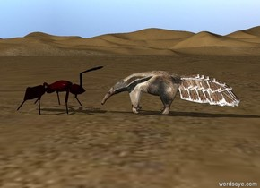 anteater is facing an ant. the ant is two feet tall. the ant is facing the anteater