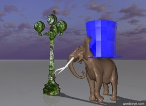 the small elephant is 2 feet to the right of the [flower] lamppost. the giant shiny blue top-hat is on the elephant. the huge bee is on top of the lamppost.