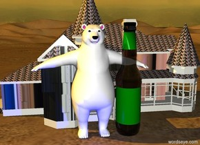 a bear.a  beer bottle is -30 inch right of the bear..the beer bottle is 90 inch tall. behind the bear is a small [beer] house.the label of the beer bottle is green.sun is  orange.in front of the bear is a  blue light.