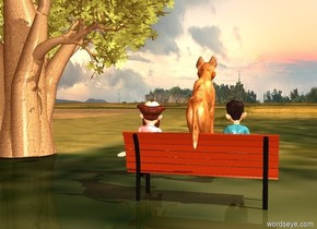 a dog is sitting on the park bench.the dog leans 25 degree to back.the ground is grass.the ground is 5 feet tall.in front of the park bench is a  baobab tree.the baobab tree is  right of the park bench.the park bench is 2 inch behind the baobab tree.the baobab tree is 200 inch tall.the sun is gold.the ambient light is 40% dim old gold.  The first small man is to the left and in front of the dog. The second small man is in front and 1 foot to the right of the dog.