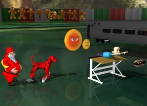 the boy is on the desk. a stack of papers is under the boy. the giant red dog is facing the boy. the large hot dog is 2 feet in front of the boy. the background is italy. it is dark. 10 feet right of the boy is a coach. there is a huge food on top of the coach. the food is 3 feet left of the coach. the food is 10 feet behind the coach. there are 10 huge gingerbread men in front of the food. there is a chinese man facing the hot dog. the chinese man is facing the hot dog. the sky is hell. there are 10 large cigarettes in front of the dog. the big angry woman is 6 feet behind the boy. there is a sad man to the right of the big angry woman. the ground is a star
