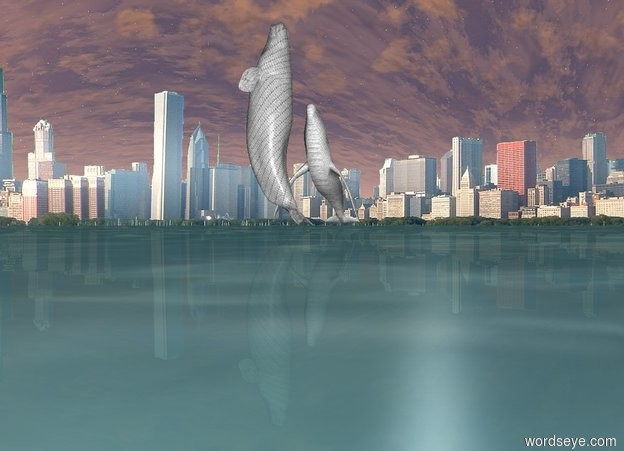 Input text: Background is city. The 1st whale is very enormous. The whale is light grey. The whale is glass. The whale is leaning 90 degrees to the back. 2nd whale is  50 feet to the left of the 1st whale. 2nd whale is very huge. The whale is leaning 42 degrees to the back. The whale is 100 feet in the ground. The whale is white. The whale is glass. The 2nd whale is facing right. The ground is water.