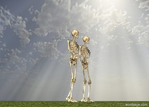 there is a skeleton. there is another skeleton. the ground is grass.