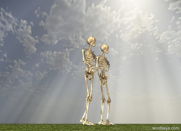 Input text: there is a skeleton. there is another skeleton. the ground is grass.