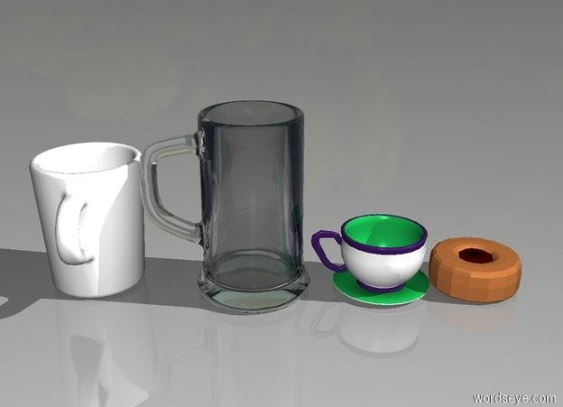 Input text: donut and teacup and beer mug and coffee mug