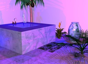 The sun is lavender. The ground is black. The sky is black. It is night. there is a room. the room is cream. there is a marble in the room. there is a 1st very large [tile] cube in the room. the 1st cube is 1.5 feet tall. the 1st cube is 9 feet to the right of and 10 feet behind the marble. a 2nd large flat water cube is on top of the 1st cube. the 2nd cube is leaning 90 degrees to the back. There is a silver faucet behind the 2nd cube. A white 13 inch tall statue is 3 inches to the right of and 4 inches behind the 2nd cube. The statue is facing the faucet. There is a 6 foot tall palm tree. The palm tree is 1 foot to the right of and 1 inch behind the 2nd cube. The Palm tree is on the ground. There is a flaming sword 1 foot to the right of and .5 inches in front of the 2nd cube. The flaming sword is on the ground. There is a mat in front of the 1st cube. There is a dwarf Palm. The dwarf Palm is 2 feet tall. The dwarf Palm is 1 inch in front of the mat. There is a shiny pastel teal vase that is 1.5 inches in front of the flaming sword. There is a 1st purple light 3 feet above the 2nd cube. There is a black light in the room. There is a 2nd purple light in front of the 1st cube. There is a 3rd purple light above the vase. There is a 4th purple light to the left of the 1st cube. There is a 5th purple light in front of the Palm tree. There is a dark purple light above the mat. There is a blue light above the faucet. There is another blue light above the vase. There is a 3rd blue light to the left of the 1st cube.