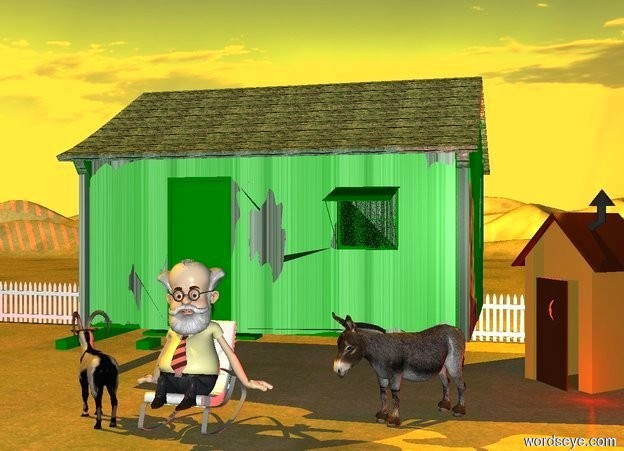 Input text: a hovel.a 9 feet tall outhouse is 1 feet right of the hovel.the ground is dirt.a rocking chair is 1 feet in front of the hovel.a man is on the chair.a goat is 1 feet left of the chair.the goat is facing northwest.a donkey is 3 feet in front of the outhouse.the donkey is 1 feet left of the outhouse.the donkey is facing southwest.the man's hair is white.the man's beard is white.the man's moustache is white.the man's shirt is yellow.the man's necktie is red.the hovel's roof is wood.the hovel's wall is wood.the hovel's door is green.the outhouse is facing southwest.the sun is orange.a orange light is above the outhouse.a fence is 2 feet behind the hovel.the fence is 100 feet long.a red light is in front of the outhouse.
