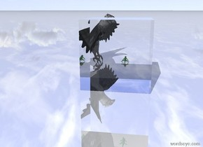 the big lizard is several inches in front of the very large bird. lizard is facing right. the ground is shiny. the huge transparent cube is 4 feet to the left of the lizard.
