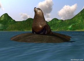 3 feet tall seal -0.5 feet above huge rock in water.