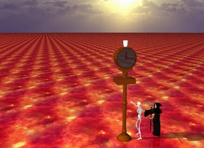 the death and the skeleton are facing a big clock.   the ground is fire.