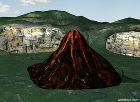 there is a big volcano. there is 10 feet tall monster facing the volcano