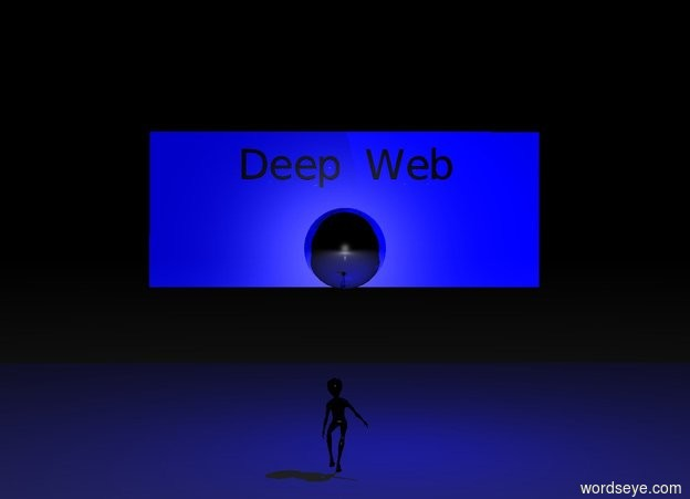 "Input text: It is night.  The giant reflective sphere is eight feet above the ground.  The sphere is black.  The reflective wall is behind the sphere.  The wall is blue.  The blue light is to the right of the sphere.  The person is on the ground.  The person is in front of the sphere.  The person is facing the sphere.  ""Deep Web"" is one foot above the sphere.  ""Deep Web"" is black."