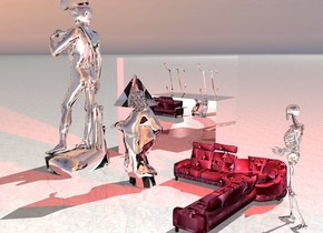 one silver man is two feet in the front of the silver woman.a huge purple light in the woman.one big transparent sphere is 10 inches in the man. one big transparent pyramid is 10 inches in the woman. One  silver wall is two feet from the man. a huge blue light in the man.one [lp19] sofa behind the woman. a  silver skeleton is behind the sofa.a huge red light in the skeleton. one huge silver cube behind the wall. one big silver pi above the cube. . the ground is texture map.