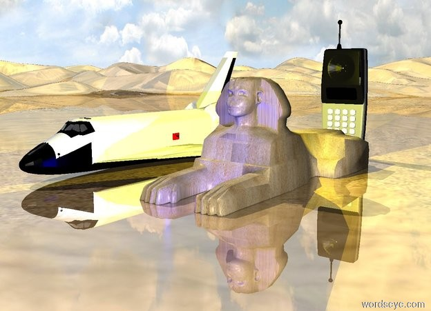 Input text: the 8 foot tall space shuttle. the 10 foot tall gray cellphone. the ground is shiny.  the 6 foot tall sand sphinx is a foot in front of the phone. the blue light is in front of the sphinx. the yellow light is above the sphinx.