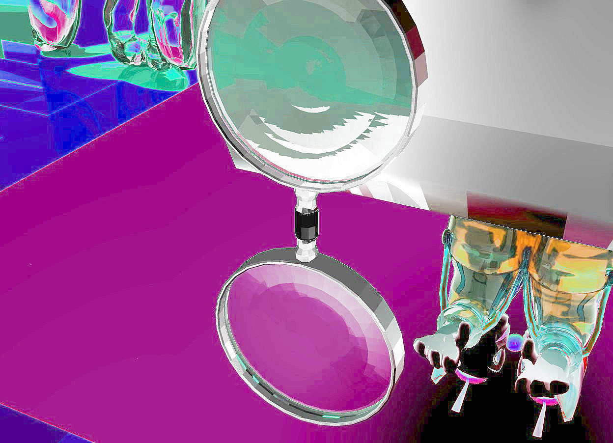 Input text: giant toaster. the first tiny transparent clown is -3 inches to the right of the second tiny transparent clown. the second tiny transparent clown is in the giant toaster. the first tiny transparent clown is facing west. the second tiny transparent clown is facing east. there is a black reflective cube 6 inches behind the giant toaster. magnifying glass fits in the cube. second black reflective cube 4 inches behind first black reflective cube. third black reflective cube 4 inches behind second black reflective cube. there is a glass dog in front of the toaster. it is 5 inches to the right of the toaster. the ground is red copper. the sky is pink. there is a peach light on the first tiny transparent clown. there is a pale yellow light on the second tiny transparent clown. there is a baby blue light on the toaster.