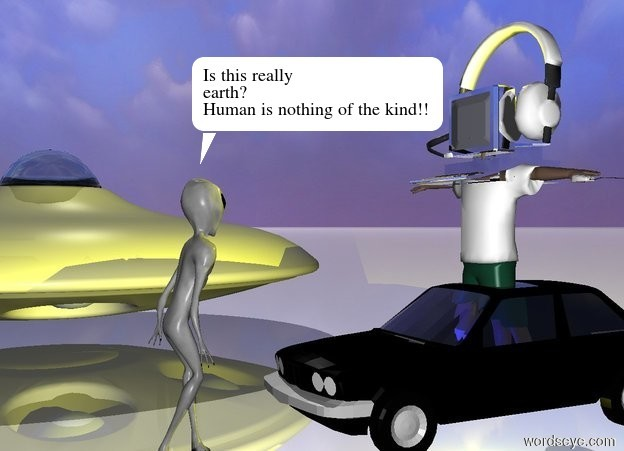 Input text: the boy is -25 inches above the small black bmw 318i . the compound object is  -15 inches above the  boy. the mouse is -5 inches right of the  boy. the compound object is silver.  the mouse is  56 inches above the  ground. the mouse is facing the north. the huge headset is -10 inches above the boy.  the alien is 10 inches in front of the small black bmw 318i . the alien is facing the small black bmw 318i .  the flying saucer is 100 inches left of the alien.  ground is shiny.  first yellow light is above the boy. second yellow light is under the boy. blue light is in front of the boy. sky is  [sky]