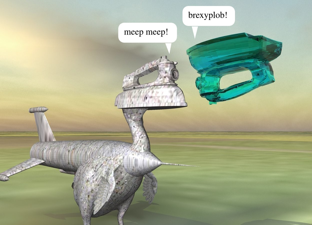 Input text: the large stone clothes iron is -7 inches above the large stone bird.it is -1.4 feet in front of the bird. the tiny stone rocket is -32 inches above the bird. it is face down. it is -6.5 feet in front of the bird. the ground is shiny grass.  a large shiny translucent cyan clothes iron is in front of the large stone clothes iron. it is facing back. it is upside down.