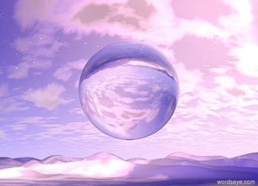 There is a 3 feet wide glass sphere 5 feet above the ground. The ground is sky. It is noon.