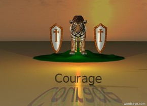 "It is sunset.  ""Courage"" is thirty feet in front of the hill.  The giant tiger is on top of the hill.  The giant tiger is one foot in front of the hill.  The yellow light is beneath the tiger.  The red light is behind the tiger.  The giant shield is two feet to the right of the tiger.  The second giant shield is two feet to the left of the tiger.  ""Courage"" is black and shiny."