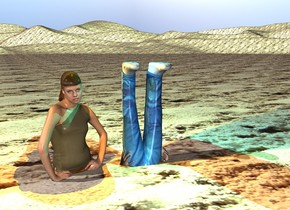 the man is upside down. he is in the ground. the woman is next to the man. the ground is sand.  the cyan light is above the man. the orange light is above the woman.