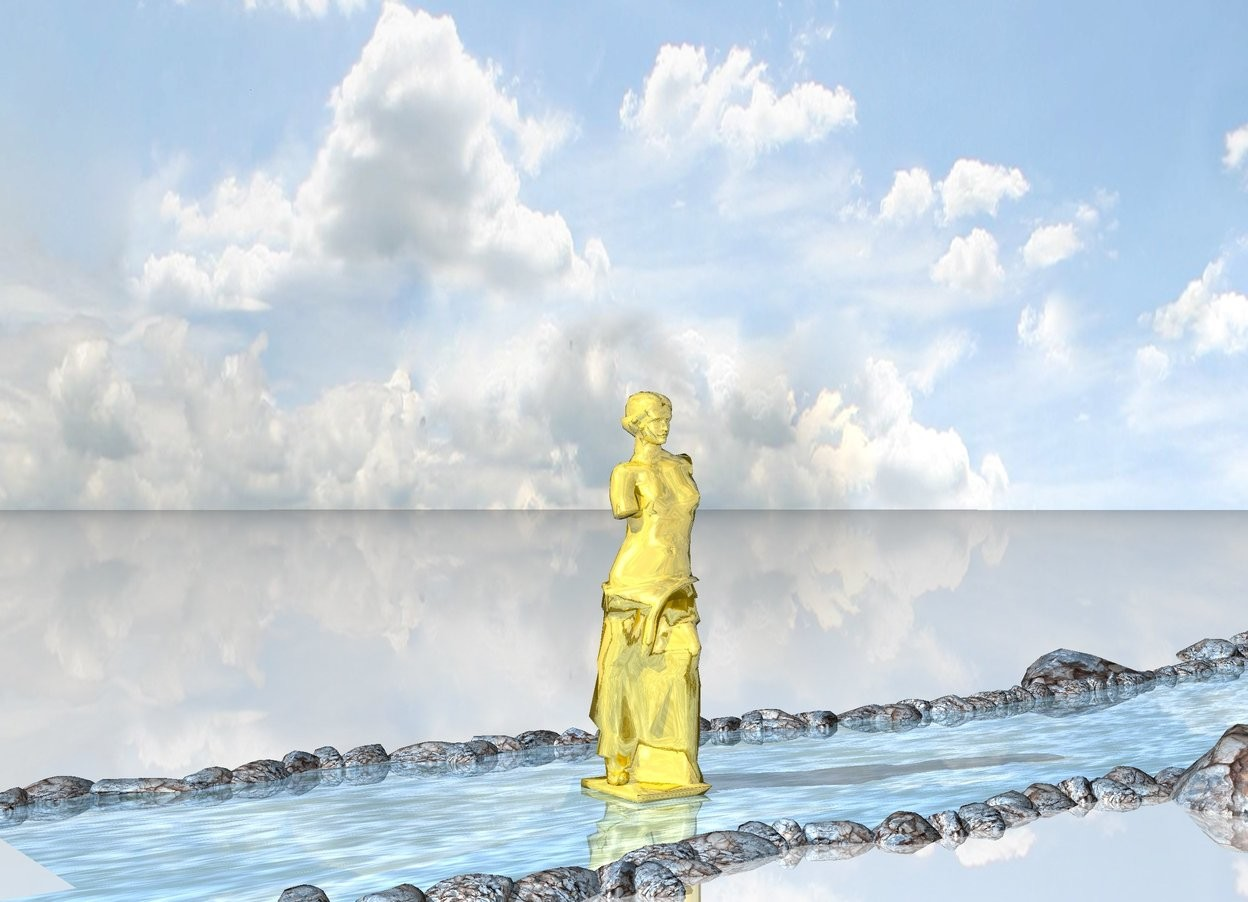 Input text:  the  large shiny gold statue on the shiny water on the shiny ground