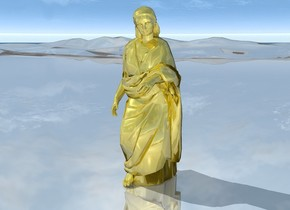 a   shiny gold statue on shiny ground