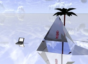 the large shiny red baby is 3 feet in the very large clear pyramid.  the pyramid is on the shiny ground.   the extremely small tree is 1 foot behind the pyramid.  the computer is 3 foot left of the pyramid