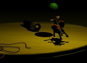 the small gold flashlight is on the large wood table. a gold sphere is -.5 inches in front of the flashlight. it is .5 inches tall. it is .5 inches above the table. the ground is tile. it is night. the camera light is black. the yellow light is in front of the flashlight. the [color] elephant is 4 inches in front of the flashlight. it is 2 inches tall. the elephant is leaning 20 degrees to the right. the clown is in the elephant. he is 1.5 inches tall. he is leaning 20 degrees to the left. the polka dot sphere is on and behind the clown. it is 1 inch tall. the extremely tiny rope is 2 inches to the left of the elephant.