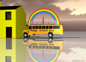 """the big tree is to the left of the yellow house. the ground is shiny. there are 10 very big leafs under the big tree. the school bus faces the house. the girl is on top of the school bus. big pink """"transgender"""" is behind the girl. the tiny rainbow is behind """"transgender"""". black """"magic school bus"""" is in front of the school bus and 4 feet above the ground."""