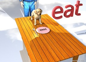 """There are 4 large ants on a pink plate. The plate is on top of a table. A man is behind the table. A fork is to the left of the plate. A big dog is behind the plate. A light is on top of the dog. The ground is shiny. There is a scarlet """"eat"""" 1 foot to the right of the dog."""