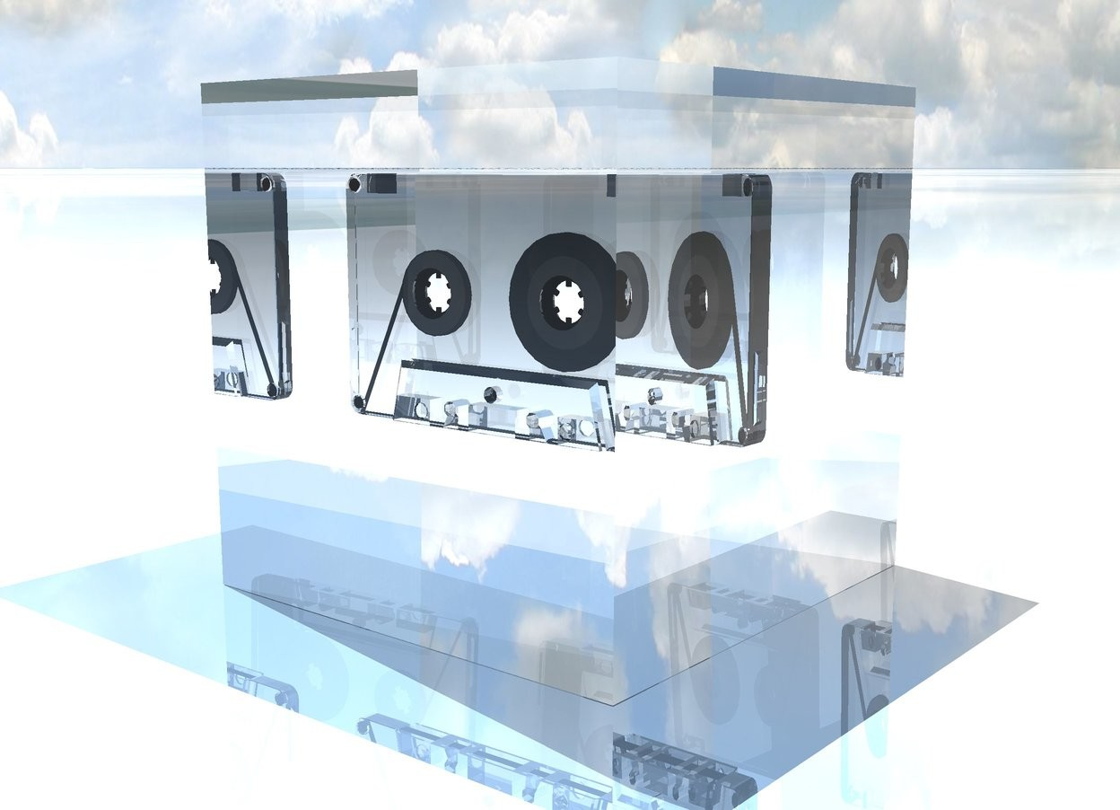 Input text: glass cube on the  shiny ground. the glass cassette fits in the cube.  the cassette is 4 inches above the ground. a light is 1 foot above the cube. the ground is sky