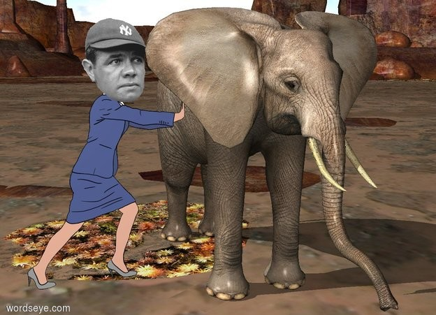 Input text: the celebrity is -1.5 feet left of a 6 foot tall elephant. the celebrity is 3 feet in front of the back of the elephant.