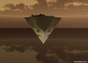 the enormous reflective [forest] pyramid is upside down. it is 7 feet above the ground. it is 10 feet above the ground. it is dusk. the camera light is black. the light is below the pyramid. it is extremely bright and white.  the city block is on the pyramid. it is 10 feet wide. it is gray. the ground is shiny and black. the yellow light is 2 foot above the city block.